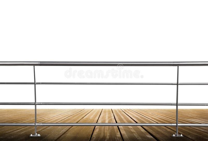 Bretterboden mit Metallbalustrade lizenzfreies stockbild