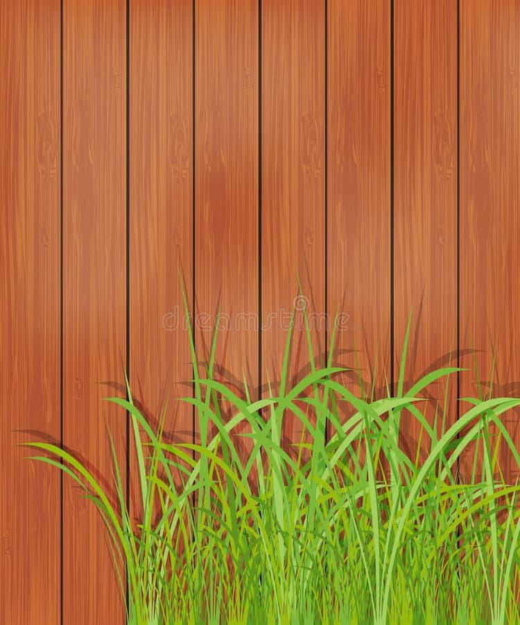 Bretterzaun und grünes Gras. Frühlingshintergrund. stock abbildung