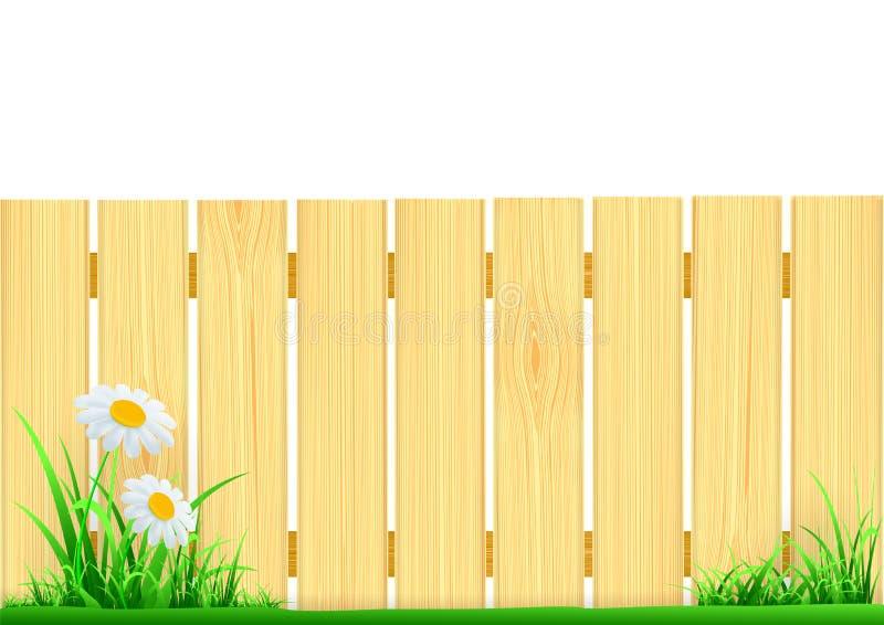 Bretterzaun und grünes Gras vektor abbildung