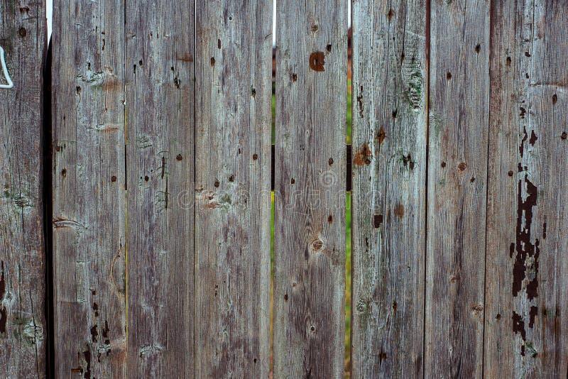 Bretterzaun von den rauen grauen Planken befestigte verticaly, mit geknackt, Nägel und Kratzer Horizontale alte h?lzerne Beschaff lizenzfreie stockfotografie