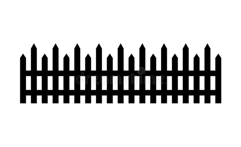 Bretterzaunillustration lokalisiert auf weißem Hintergrund stellen Sie Ikonenzaun hergestellt von der Vektorillustration ein stock abbildung