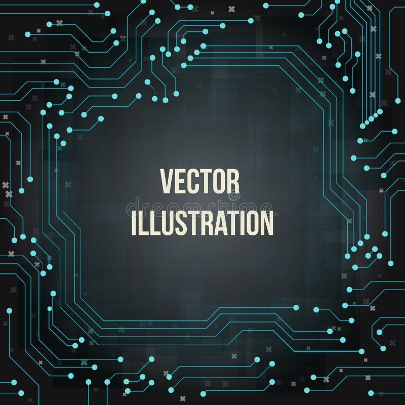 Bretthintergrund des blauen Grüns des Stromkreises mit Text vektor abbildung