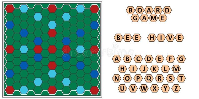 Brettspiel Bienenbienenstock, sich entwickelnde Gelehrsamkeit, Bienenwabenpappe und Buchstaben lizenzfreie abbildung