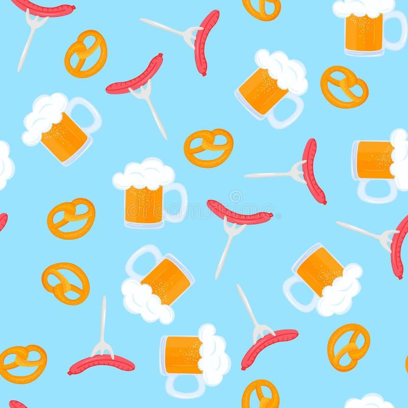 Bretzel i kubek piwo z pian? Kie?basiany grill na rozwidleniu Tradycyjni Niemieccy ciasta Krajowy jedzenie Oktoberfest Bezszwowy royalty ilustracja