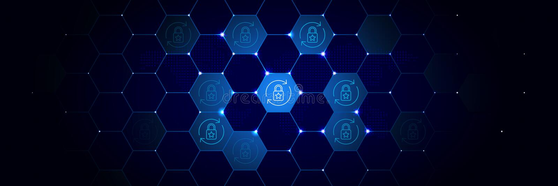 Breuk, gegevensbeschermingpictogram van Algemeen die gegevensproject in technologisch wordt geplaatst stock illustratie