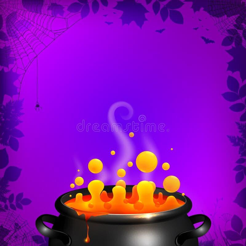 Breuvage magique jaune de vecteur dans le chaudron noir sur l'orange illustration stock