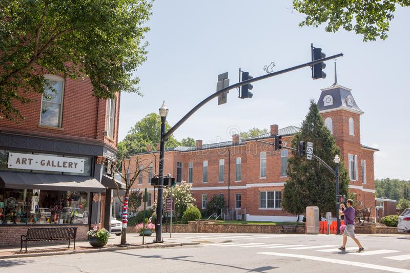 The Intersection of Main and Broad Streets in Downtown Brevard, North Carolina. BREVARD, NC USA - July 7, 2019:  A view of the intersection of Main and Broad royalty free stock photos
