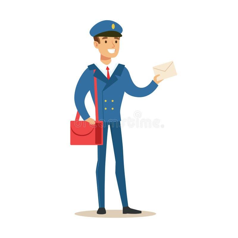 Brevbärare i blå enhetlig levererande post som rymmer en bokstav som fullgör brevbäraren Duties With ett leende royaltyfri illustrationer