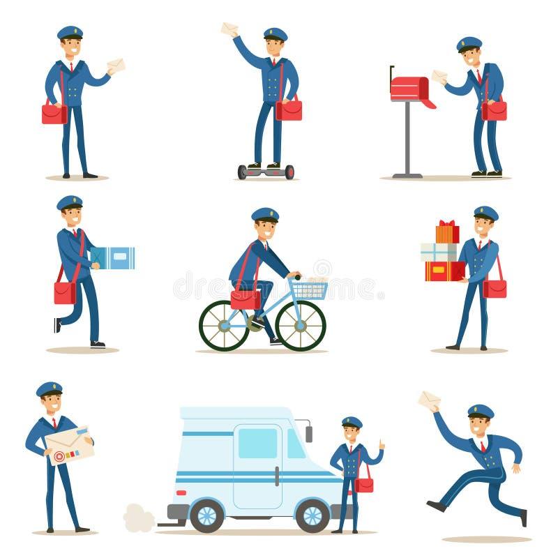 Brevbärare i blå likformig med den röda påsen som levererar post och andra packar som fullgör brevbäraren Duties With en leendeup royaltyfri illustrationer