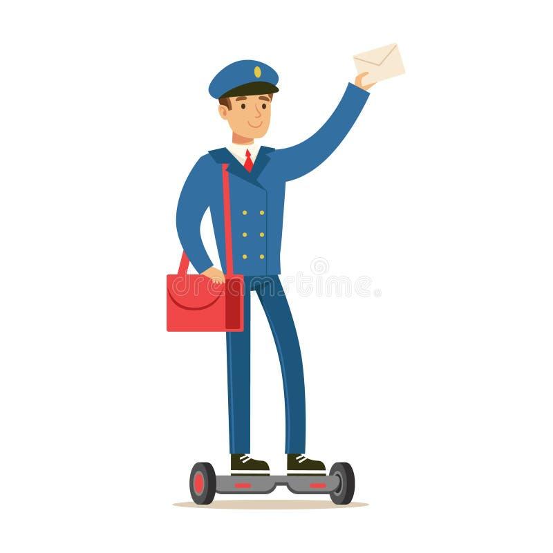 Brevbärare i blå likformig på gyroskopsparkcykeln som levererar post som fullgör brevbäraren Duties With ett leende vektor illustrationer