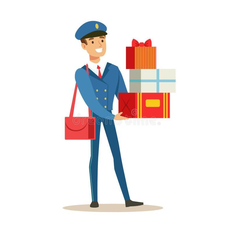 Brevbärare i den blåa likformign som levererar feriegåvor och post som fullgör brevbäraren Duties With ett leende vektor illustrationer