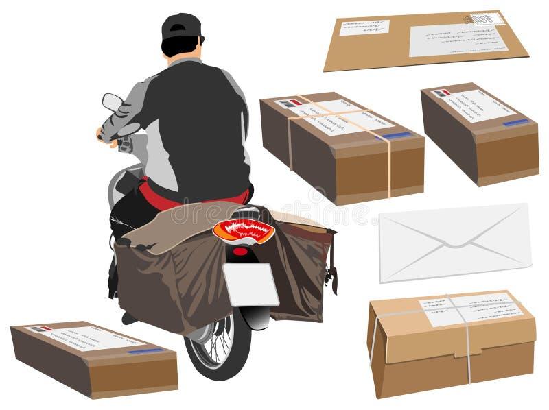 Brevbärare som kör en sikt för motorcykel- eller cykeltecknad filmbaksida royaltyfri illustrationer