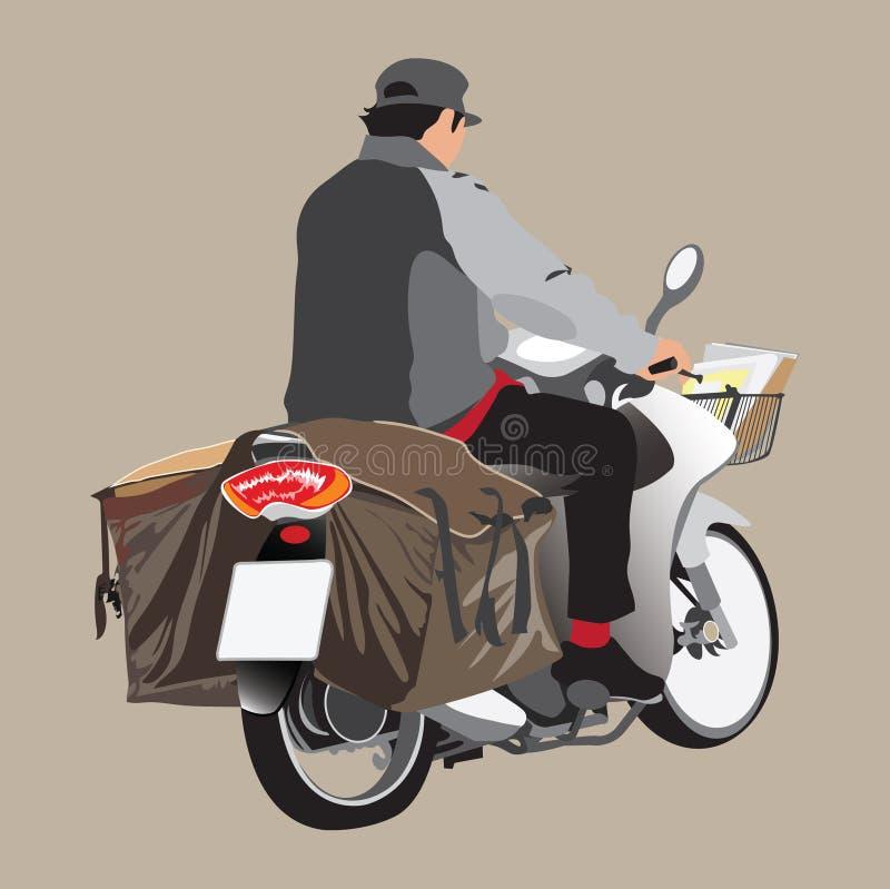 Brevbärare som kör sikt för sida för motorcykel- eller cykeltecknad film en grafisk vektor illustrationer