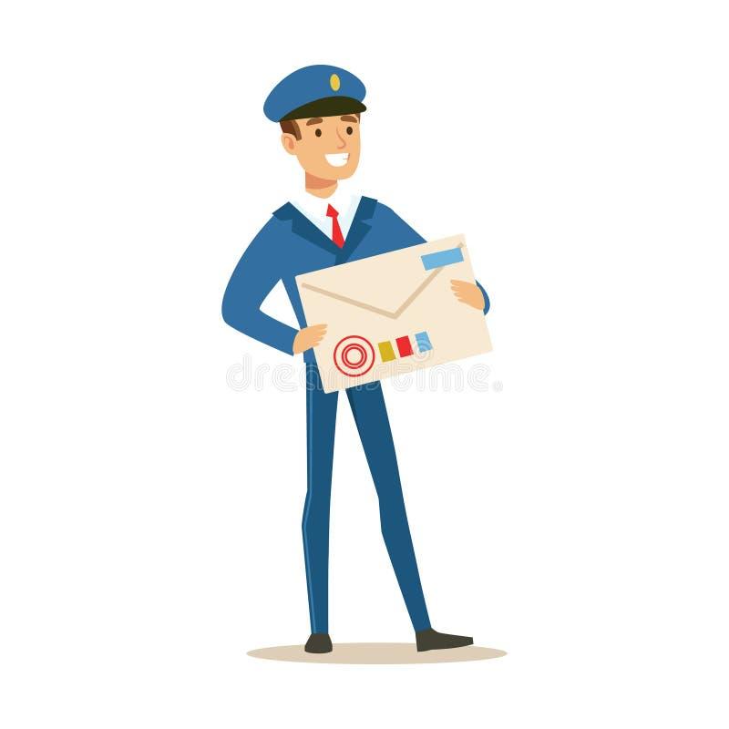 Brevbäraren i blå enhetlig levererande post, den hållande jätte- bokstaven packar in och att fullgöra brevbäraren Duties With ett stock illustrationer