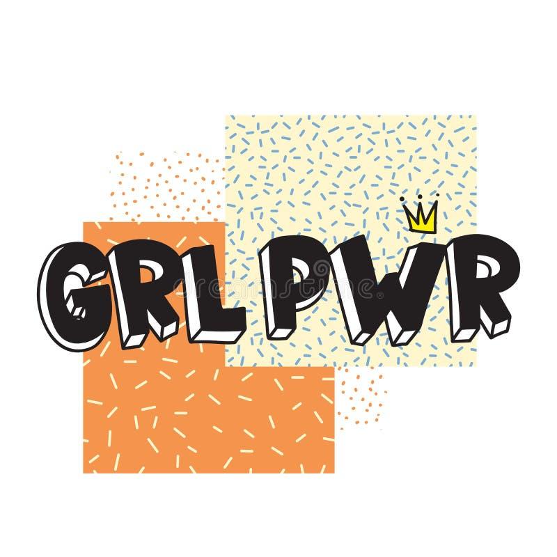 Breve citazione di GRL PWR Illustrazione sveglia di potere della ragazza illustrazione vettoriale