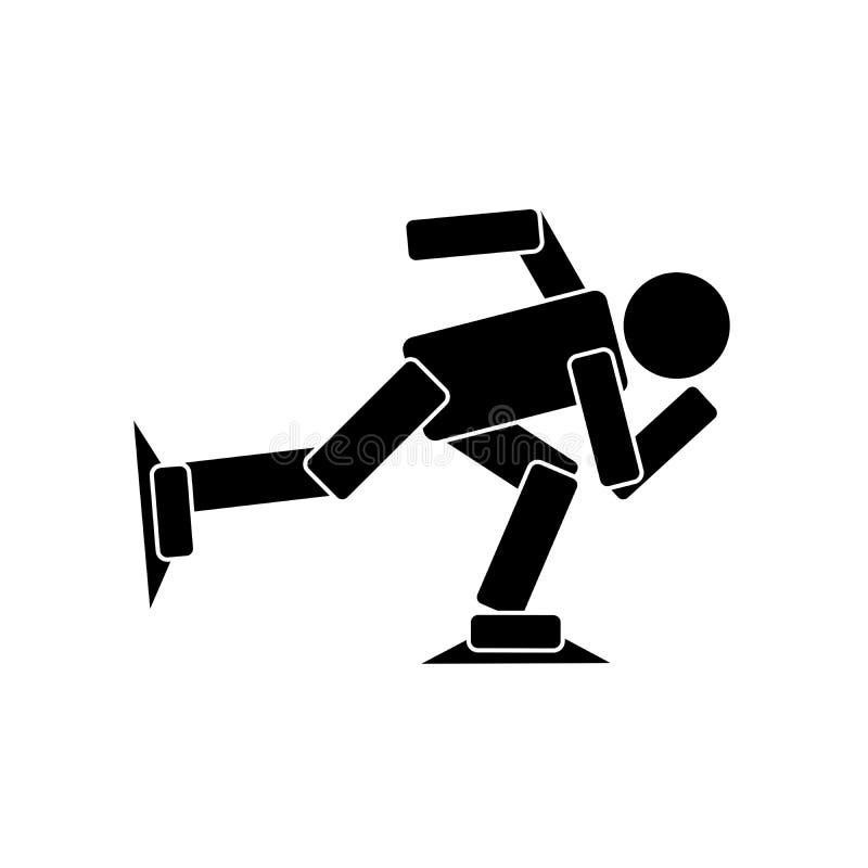 Breve icona dell'atleta di pattinaggio di velocità della pista illustrazione di stock