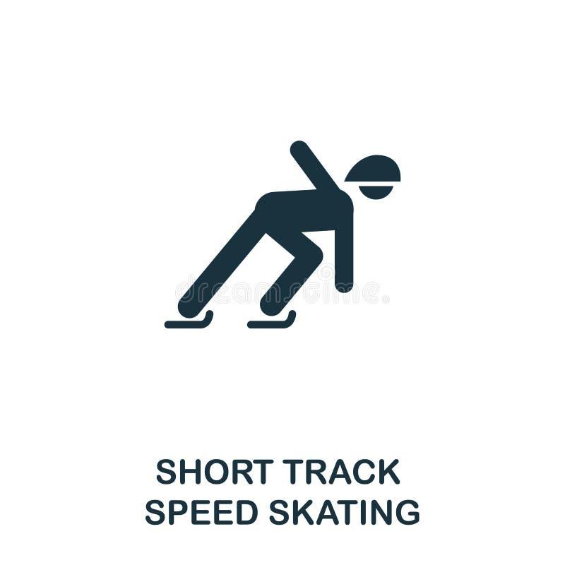 Breve icona di pattinaggio di velocità della pista Progettazione premio di stile dalla raccolta dell'icona degli sport invernali  illustrazione vettoriale