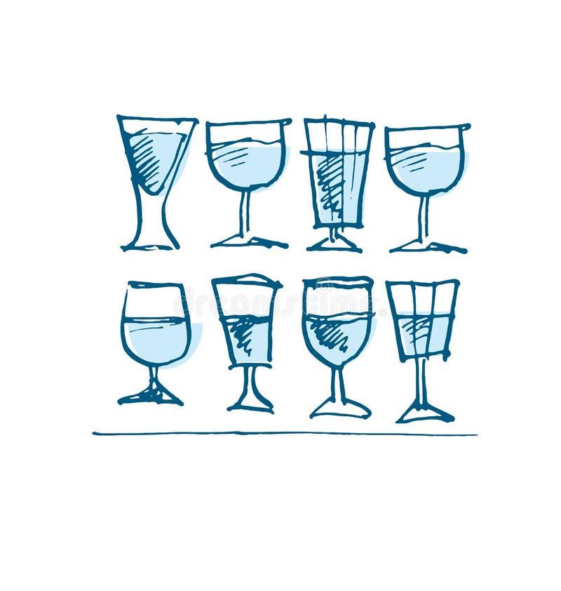 Breve insieme di vetro della vodka immagine misera dell'alcool royalty illustrazione gratis