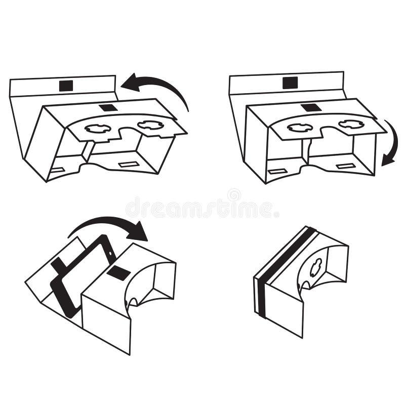 Breve istruzione per i vetri/cuffia avricolare di VR per le siluette dell'illustrazione di vettore dello smartphone fotografia stock