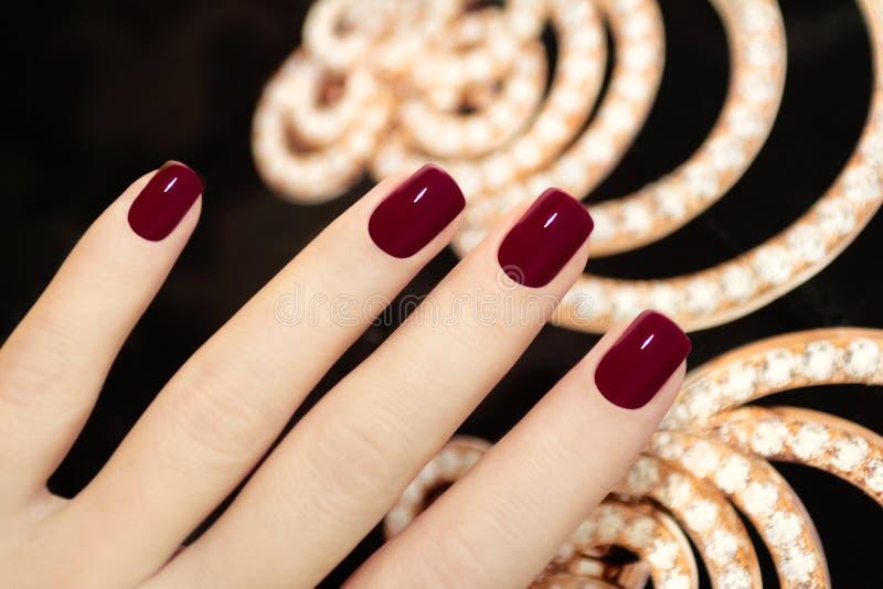 Breve manicure di lusso Borgogna. immagini stock libere da diritti