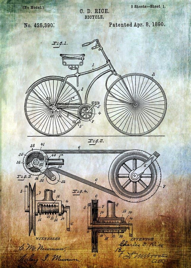 Brevet de bicyclette à partir de 1890 illustration libre de droits