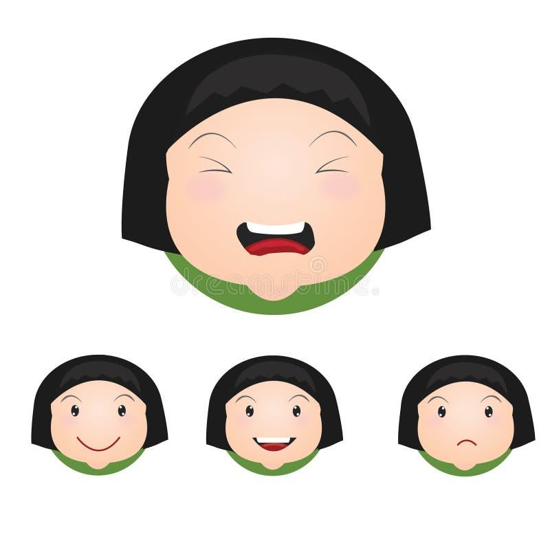 Brevi icone del fronte dei bambini della ragazza immagini stock
