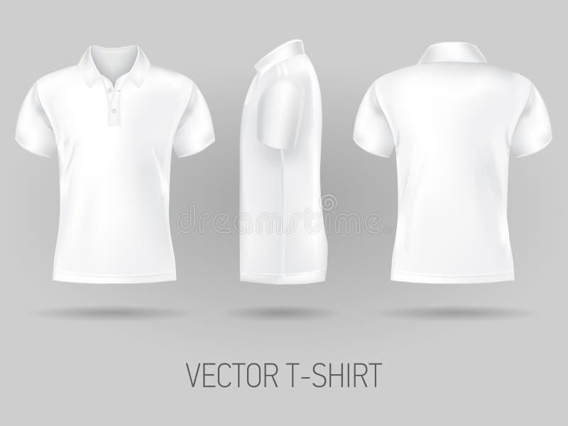 Brevi modelli bianchi di progettazione della camicia di polo della manica Derisione di vettore su royalty illustrazione gratis