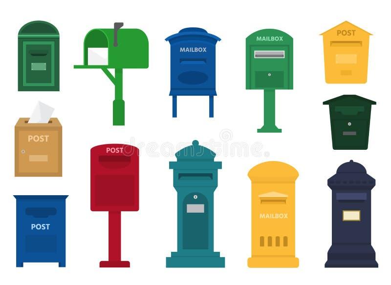 Brevlåda för brevlådavektorstolpe eller post- bokstavsask av den amerikanska eller europeiska brevskickanden och uppsättningen av royaltyfri illustrationer