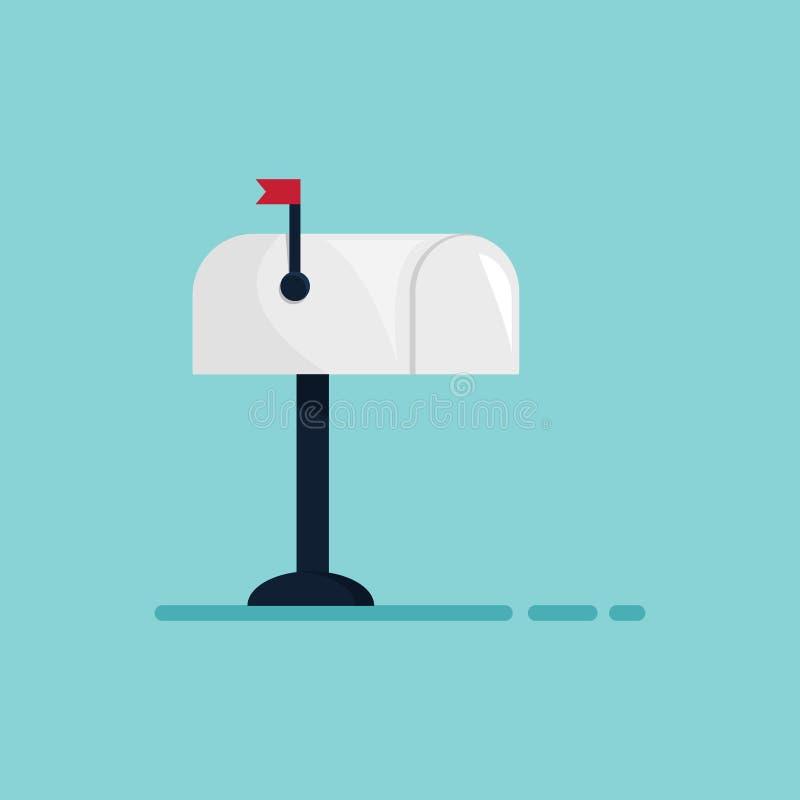 Brevlåda med den lilla röda flaggan Isolerat på den blåa bakgrunden Plan design illustration stock illustrationer