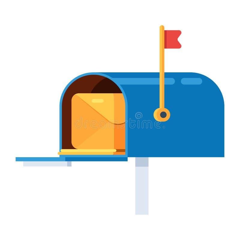 Brevlåda med ett kuvert vektor illustrationer