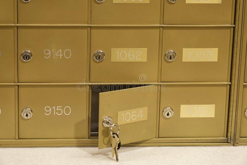 Brevlåda - som lås upp med tangent i lås arkivbilder