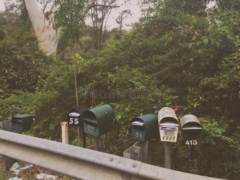 Brevlådor i busken arkivfoton