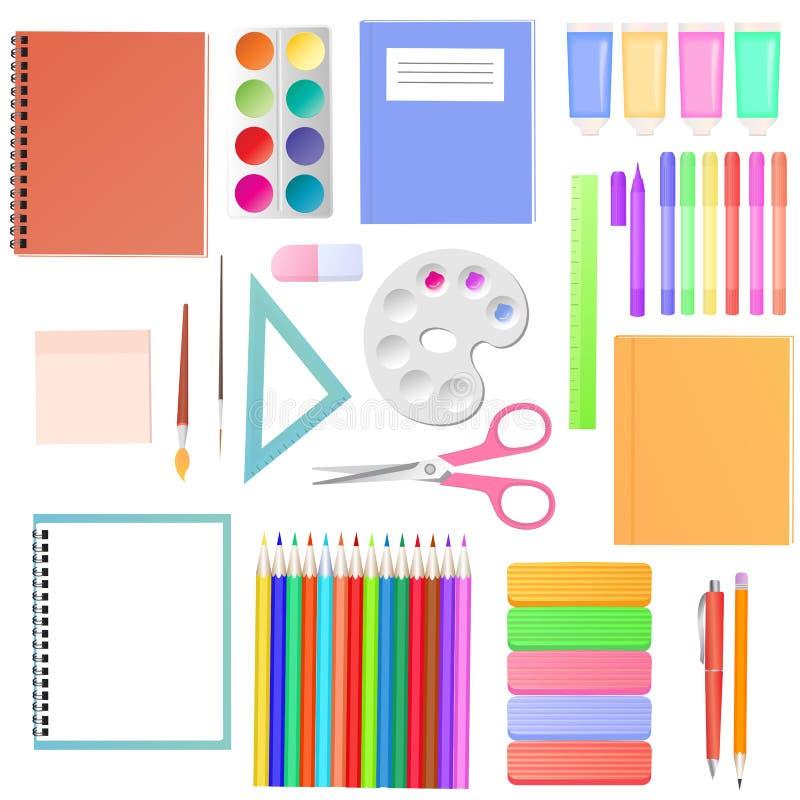 brevpapper En uppsättning av skolatillförsel för studenter Konstmaterial f?r kreativitet f?r barn` s stock illustrationer