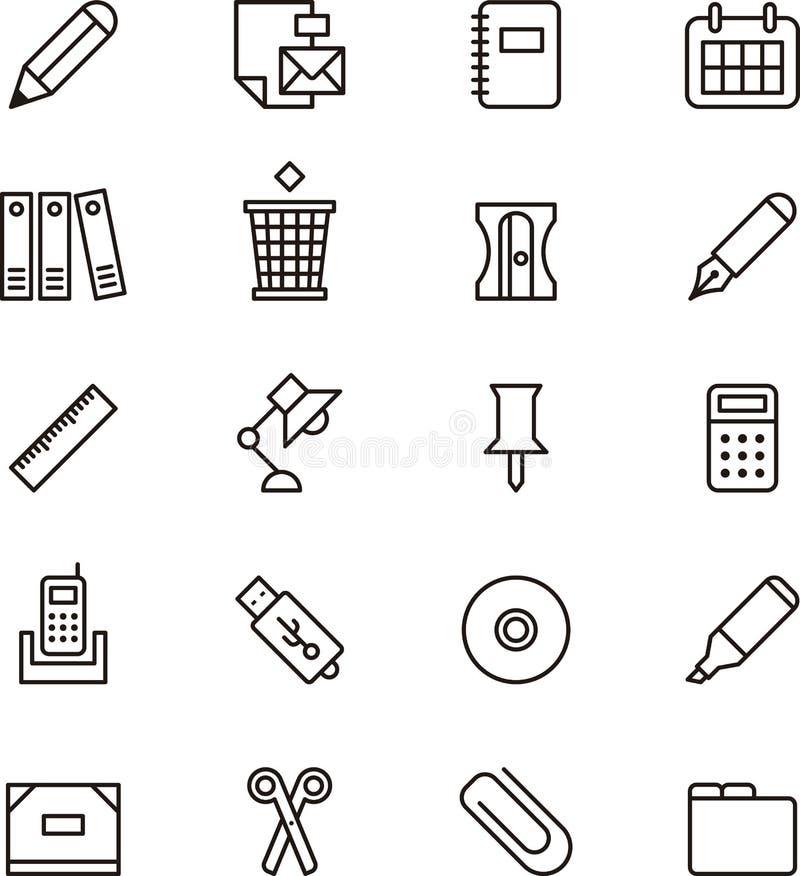 Brevpapper- och kontorstillförselsymboler royaltyfri illustrationer