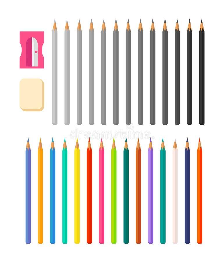 Brevpapperillustration med olika blyertspennor för symboler stock illustrationer