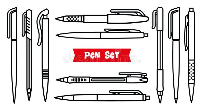Brevpappersamling anteckningsbokpennan tools writing Inställda pennor Översiktsstil Tunn linje vektorsymboler för kulspetspenna B stock illustrationer