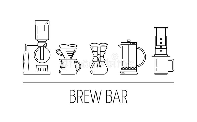 Brew bar. Set vector black line icons of coffee brewing methods. Siphon, pour over, chemex, french press, aeropress. Flat design. royalty free illustration