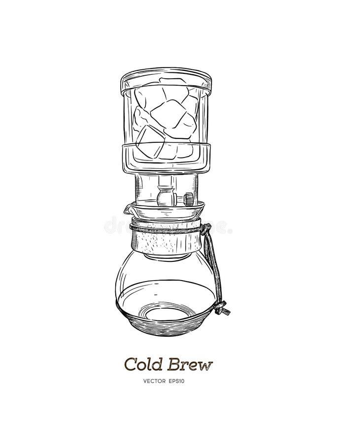 Brew froid vecteur d'aspiration de main de fabricant de café illustration stock
