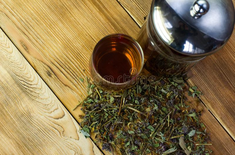 Brewed tea on a serving table with brewing stock photos