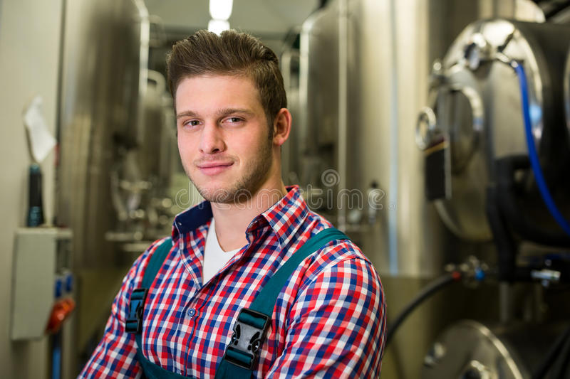 Brewer at brewery. Portrait of brewer at brewery stock images