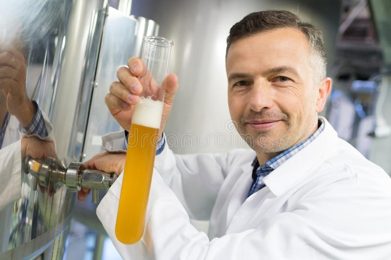 Brewer pouring beer in hydrometer cylinder at brewery factory. Male stock images