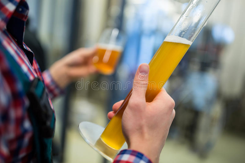 Brewer testing beer. Mid section of brewer testing beer at brewery factory royalty free stock photos