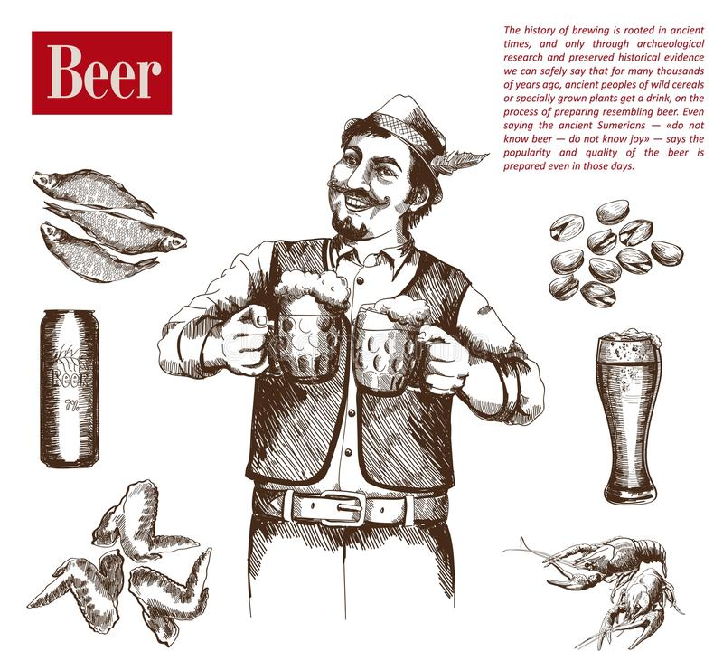 Brewer with two mugs of beer vector illustration