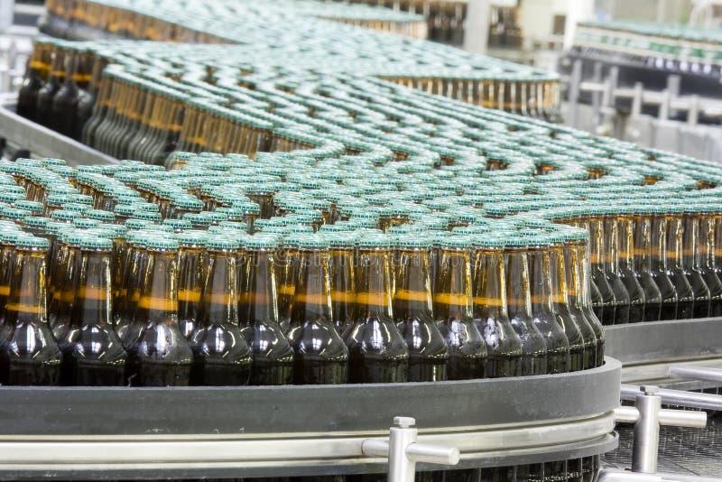 Brewery. Workshop, beer factory conveyer royalty free stock image