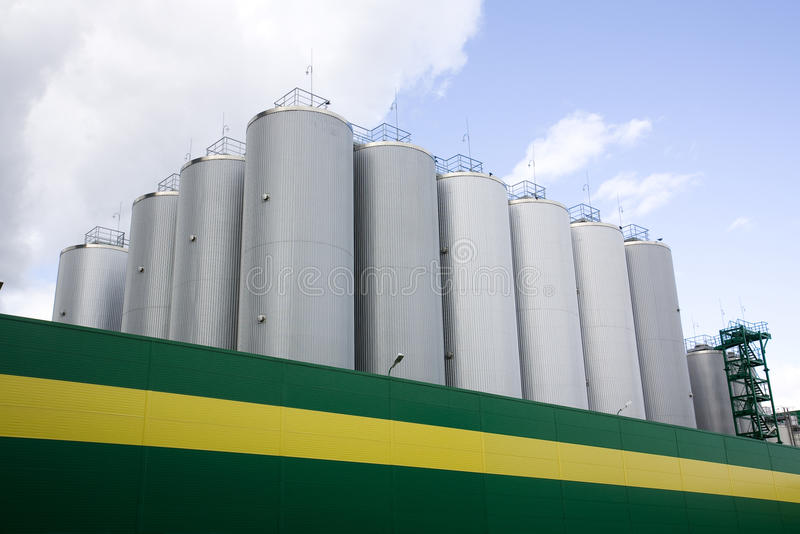 Brewery. Huge fermentation tank shot overall plan stock photography