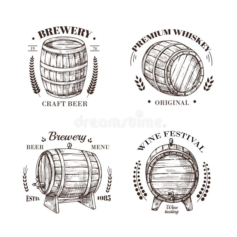Brewery emblem. Barrel of beer and wine, whiskey and brandy sketch vector vintage labels with wooden cask and royalty free illustration