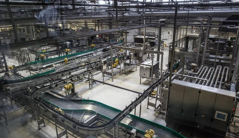 Brewery factory production line. Conveyor, pipeline and other industrial machinery, no people stock photo