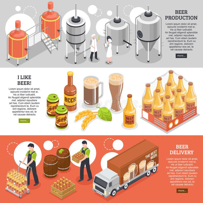 Brewery Isometric Banners stock illustration