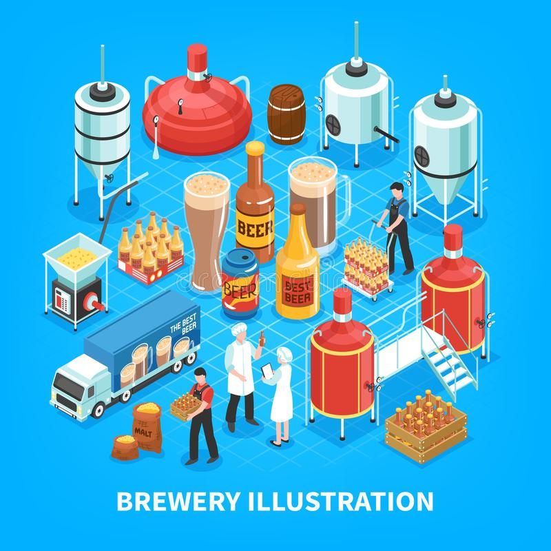 Brewery Isometric Composition vector illustration