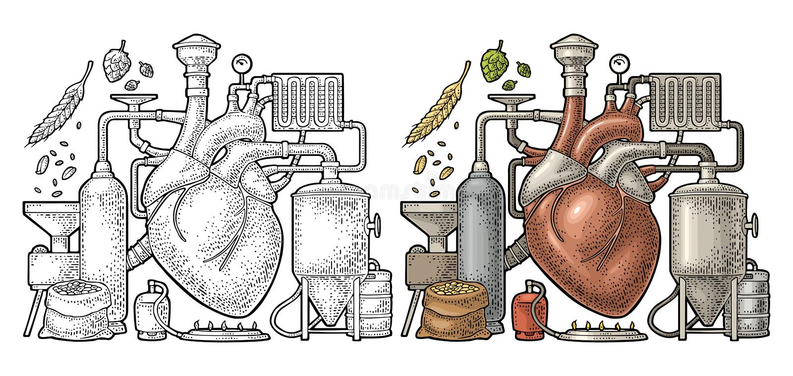 Brewery process on factory beer with tanks, burner, heart engraving. Brewery process on factory with tanks, ear, hops, burner. Heart in the center of the royalty free illustration